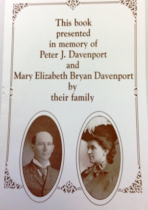 A bookplate in an item in the Davenport Collection
